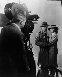 Humphrey Bogart and Ingrid Bergman during the filming of Casablanca (1942).